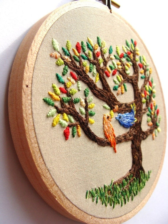 Hand Embroidered Wall Art - The birds on the tree, colorful home decor, love, birds, 4 inch hoop, kawaii, custom work available
