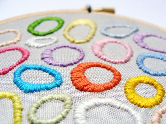 Hand Embroidered Colorful Wall Art - Circles, home decor, great for baby shower gift, nursery room, hoop wall art, custom work available