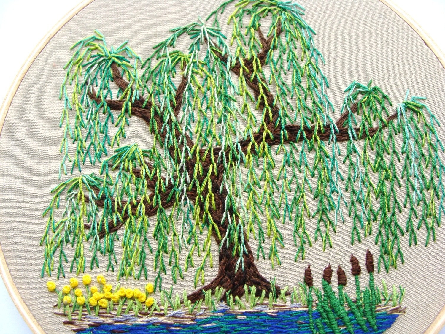 RESERVED Hand Embroidered Wall Hanging Weeping Willow Tree