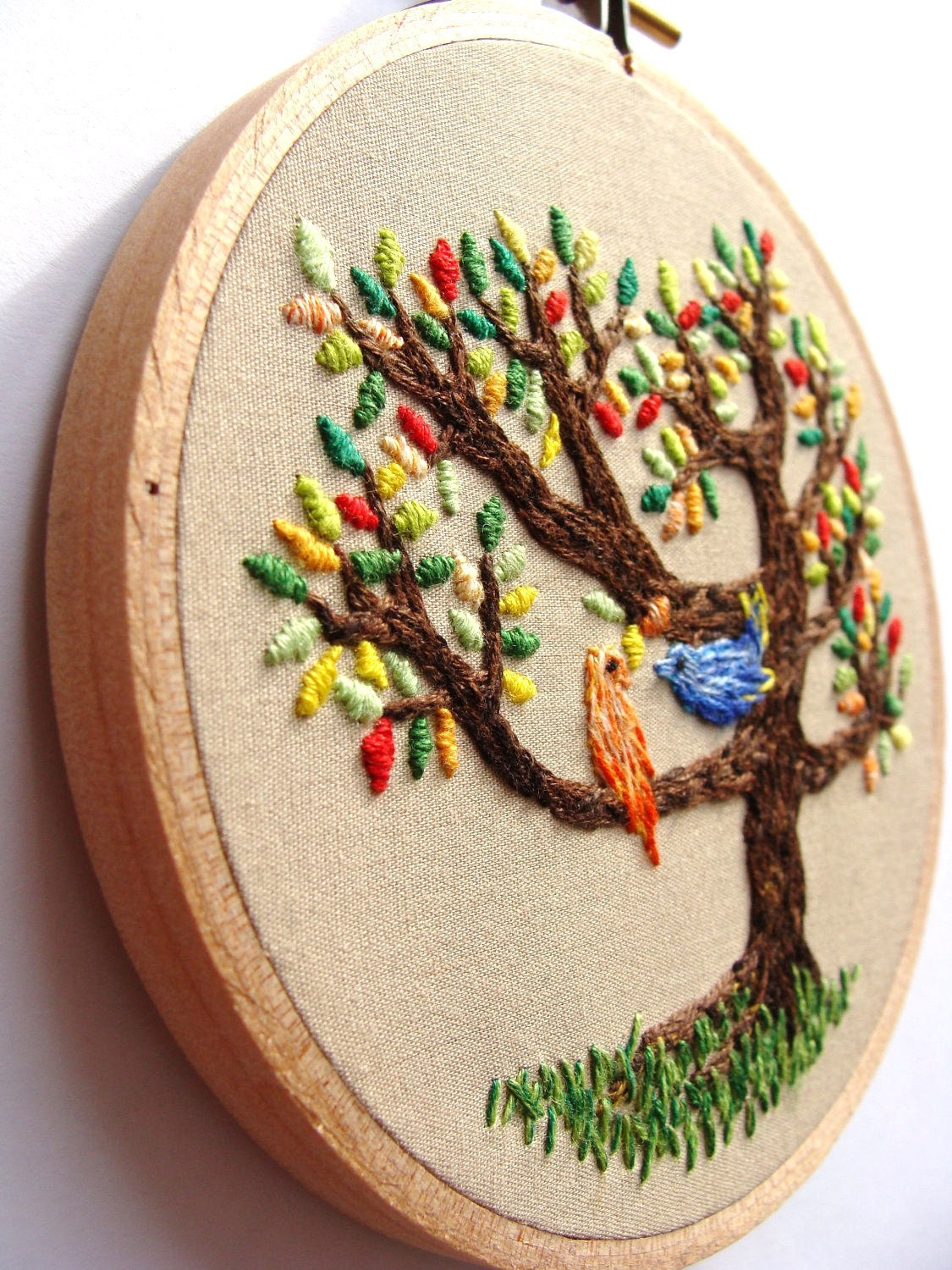 Hand Embroidered Wall Art The Birds On The Tree Colorful
