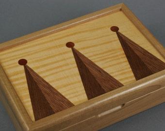 Poplar Wood Christmas Tree Box. Walnut and Tiger Maple Veneer Top.