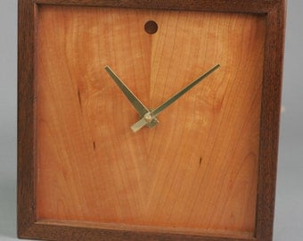 "Cherry Veneer Wood Wall or Shelf Clock.  Walnut Frame.  10"" x 10"" x 1 1/2"""