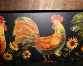 Primitive Roosters Picture in a Stained Wood Frame