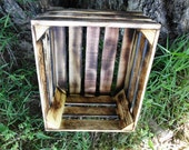 Primitive Reclaimed Wooden Storage Crate With Burnt Wood Design, Home Decor, Wedding Decor, Kitchen Decor
