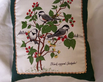 Black capped Chickadee Birds Throw Pillow for sofa or bed, gold embellished, Handmade