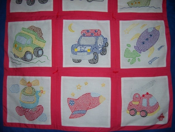 Hand embroidered Transportation Baby Boy Quilt