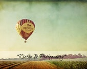 Hot Air Ballon Over Farmland, Fine Art Print, 12x8, With or Without Text.