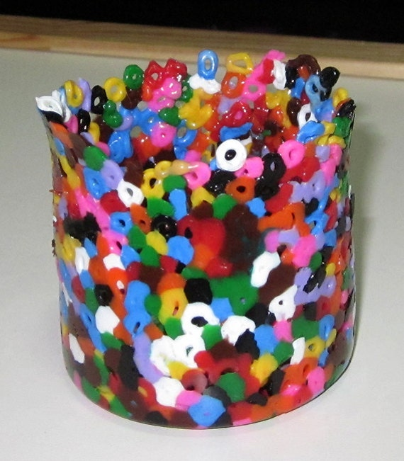 Multi Colored Perler Art Beads Melted Stationary Cup - Medium