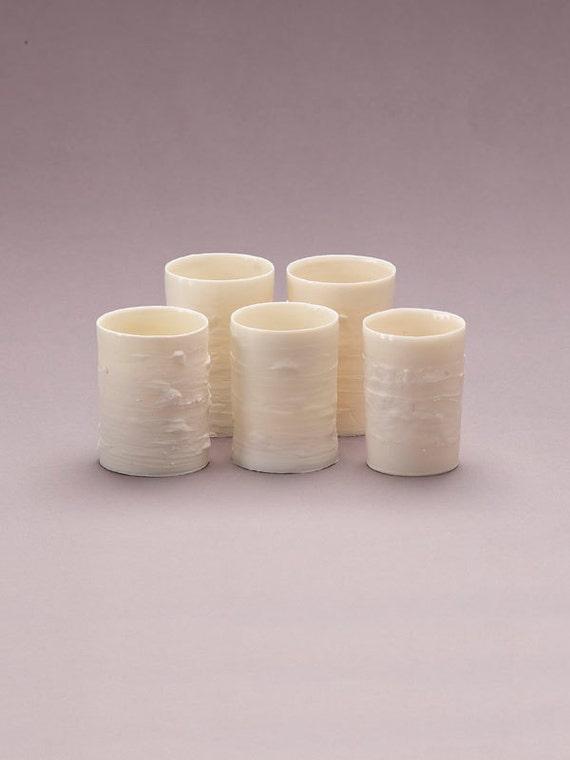 Set of five porcelain votive holders (bark finish)