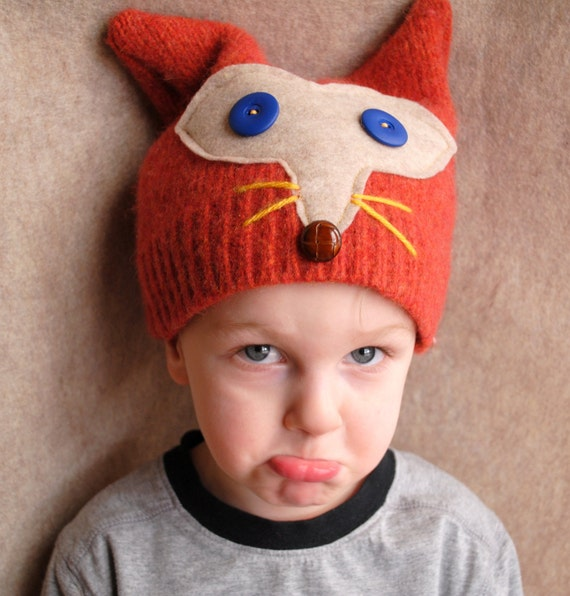 Upcycled Felted Wool Fox Childrens Hat with Buttons