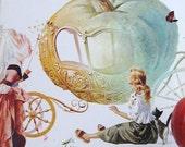 Cenerentola - Cinderella - Vintage Italian Childrens Large Softcover Illustrated Book - Frame It for Home Decor