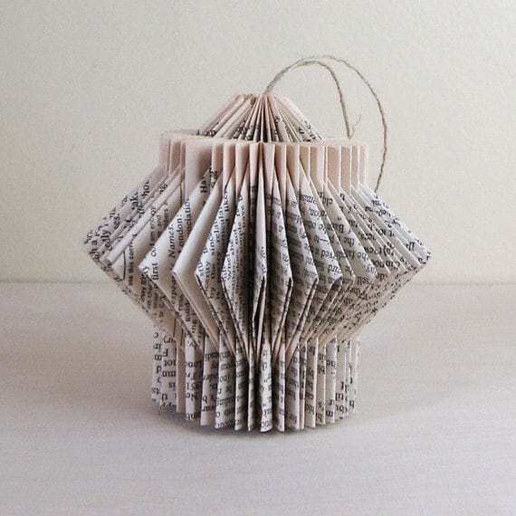 Paper Cog -  one recycled book sculpture ornament
