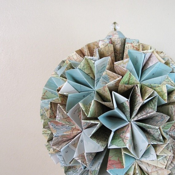 Paper Globe Large Origami Kusudama Sculpture Eco Decor