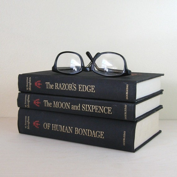 W Somerset Maugham Book Set - The Moon and Sixpence, The Razor'e Edge & Of Human Bondage - Instant Collection of Black Vintage Books
