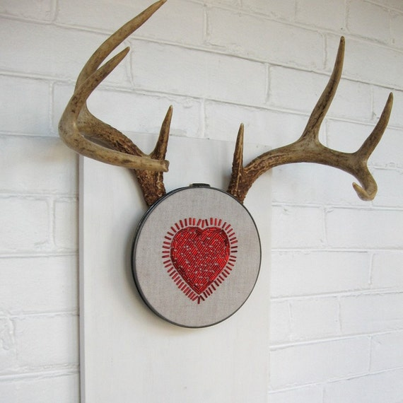 This Heart Skipped a Bead - Hand Stitched Embroidery Hoop - Ready to Hang Art