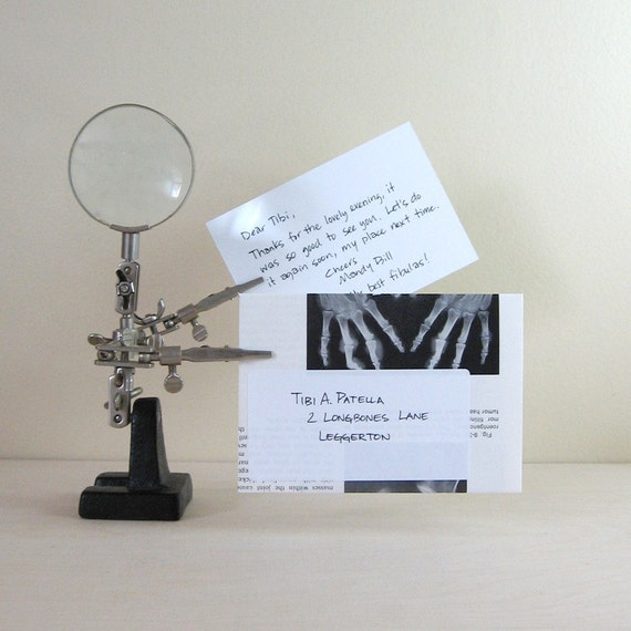 "X-ray Stationery - 5 Envelopes & Note Cards - Recycled Black and White Medical Text Book 3.5"" x 5"" Hello Thank You"