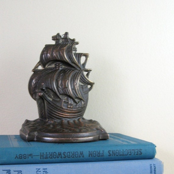 Galleon Ship Book End or Door Stop - Vintage Heavy Brass Nautical Home Decor