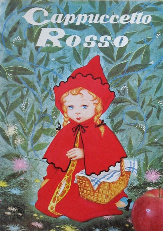 Cappuccetto Rosso - Red Riding Hood - Vintage Italian Book - Childrens Large Softcover Illustrated - Frame It for Home Decor