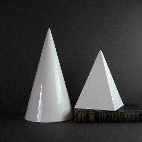 Vintage White Ceramic Geometric Sculptures - Modern Minimalist 80s Home Decor