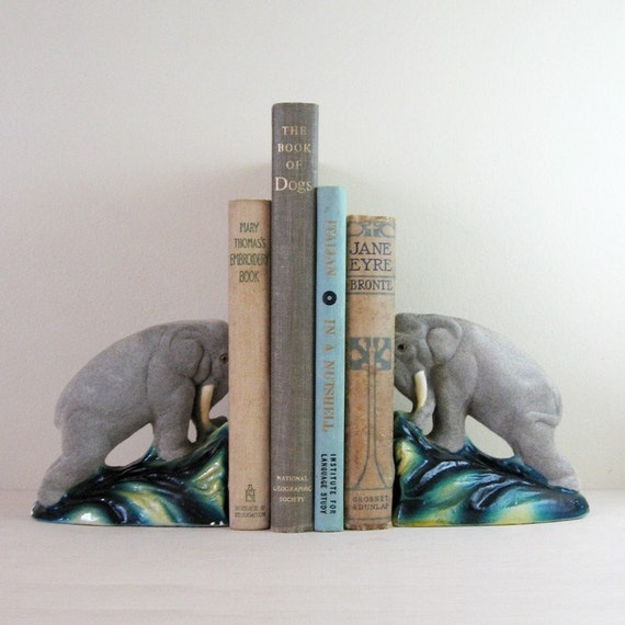 Rare Pair Vintage Flocked Ceramic Elephant Bookends - Tusks in the Jungle