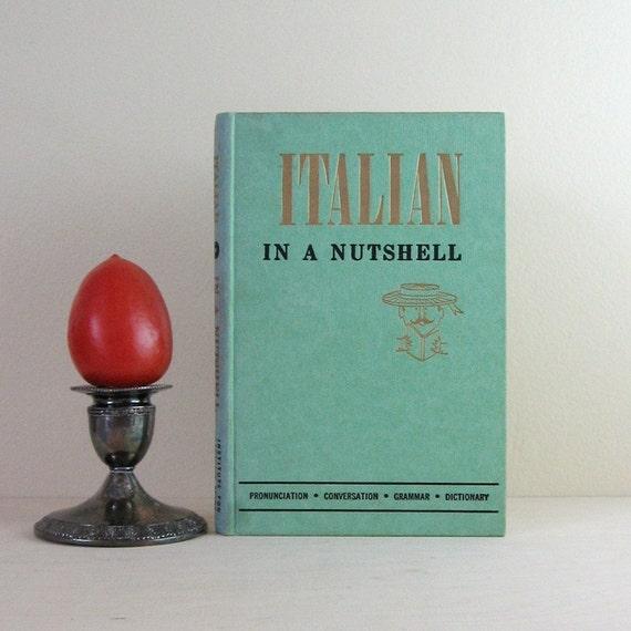Italian in a Nutshell - Vintage Green Guidebook Second Language Travel