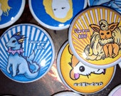 Sea and Flame Pinback Button Set Vaporeon and Flareon Pokemon One Inch