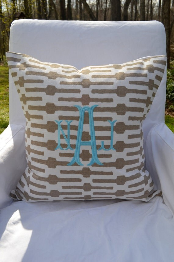 Monogrammed Annie Selke Links Taupe Throw Pillow Cover