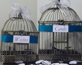 Personalized Elegant Wedding Card and Wishes Holder Bird Cage Set with a Teal Satin Ribbon