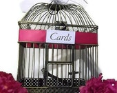 Personalized Elegant Wedding Card Holder Bird Cage with a Fuchsia Satin Ribbon Accent