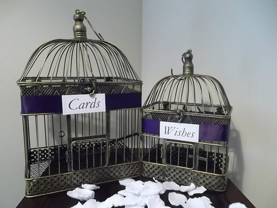 Personalized Elegant Wedding Card and Wishes Holder Bird Cage Set with a Eggplant Purple Satin Ribbon