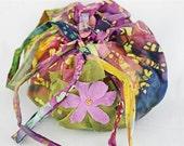 Lotus Birth Placenta Bag - Batik Unlined with Beaded Applique