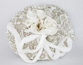 Lotus Birth Placenta Bag - Taupe and White Cotton Lined