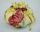 Lotus Birth Placenta Bag - Vintage Kimono Butterfly Lined OOAK