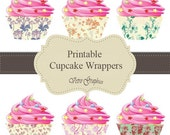 Cupcake Wrappers Vintage Design Printable Project , Diy