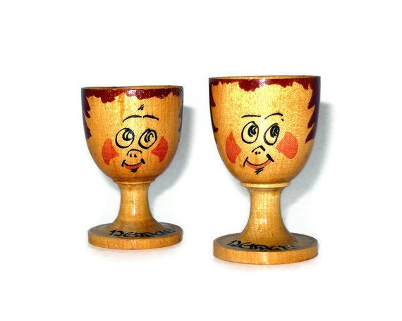 Vintage Norge Wood Egg Cups, Qty 2, Figural Shape, Hand Painted,  Handmade in Norway