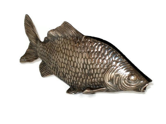 """Vintage ITALIAN 10"""" Lunker Silverplate FISH NAPKIN Holder,  Whimsical Catch For Home or Cabin Table"""