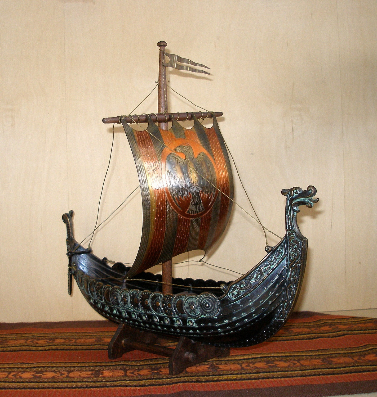 Large Vintage Iron Art Bronze Viking Long Boat Ship By