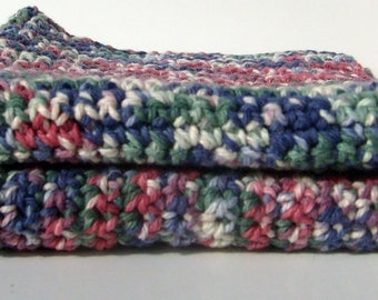 Hand Crocheted Green, Red, Purple, Blue and White Cotton Washcloths (Set of two)