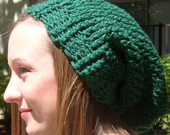 Dark, Kelley Green, 100 Percent Cotton, Hand Knit, Slouchy Beanie Hat for Men and Women