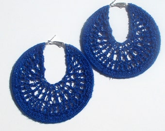 Dark Blue, Dark Navy, Sparkly, Metalic, Shiny, Hand Crochet, Hoop, Silver-Colored, Large Earrings