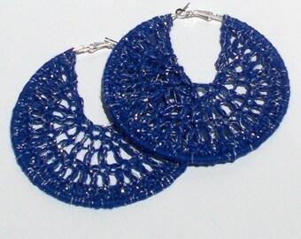 Large, Dark Blue, Navy Blue, Silver Metallic, Hand Crochet, Hoop Earrings