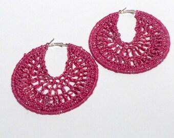 Hand Crochet, Bright Pink, Silver Metallic, Large, Silver Colored, Hoop Earrings