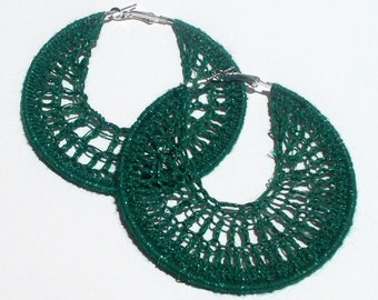 Dark Green, Green Metallic, Hand Crochet, Large, Silver Colored, Hoop Earrings