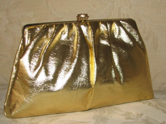 Cocktail Party // Vintage GOLD Metallic Lame Purse CLUTCH 60's Hipster Wedding Ruched Flower Chain Crystal