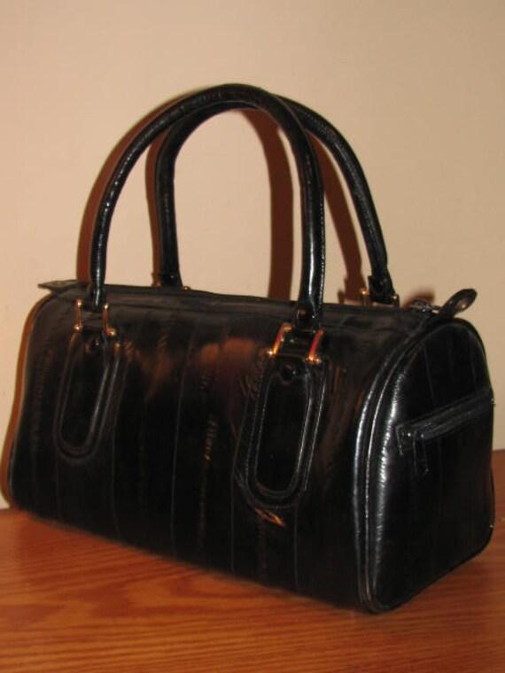 DOCTORS Bag for Fall // BLACK EEL Skin Purse Gold Hardware Satchel Hipster Classic Preppy Boho Chic Sleek Shiny 80's
