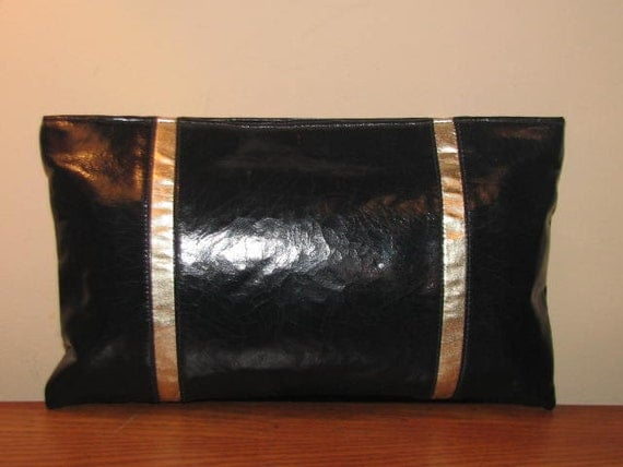 Vintage Shirl Miller CRACKLED Purse Wrist CLUTCH 70's 80's Black Gold Retro Chic Hipster Boho Colorblock