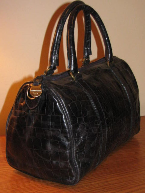 RESERVED // FURLA Italian Leather Doctors Bag Speedy Purse Handbag MIDNIGHT Blue Gold Classic Preppy Moc Croc Embossed