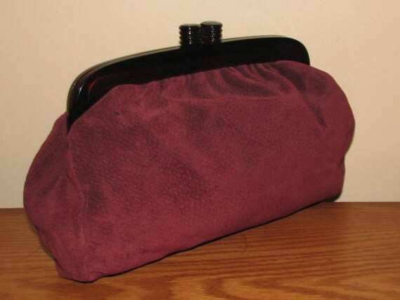 Vintage Vanessa SUEDE Oxblood Wine Burgundy Brown Clutch Purse ITALY Genuine Leather 1970's 70's 1980's 80's