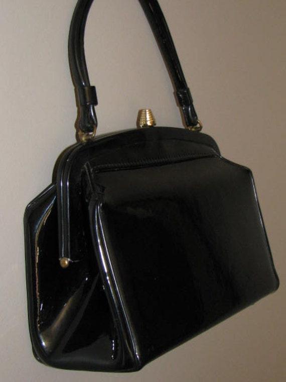 Vintage 1960's BLACK Handbag Kelly Bag Purse PATENT Rockabilly Pin Up Shiny Black and White Gold Structured Box