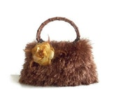 knitted bag purse hand knitted brown fur purse knitted handbag knitted spring pursewith golden yellow flower